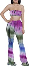 ZIKKER Women's Two-Piece Romper Sexy Tie Dye Print Bandeau Top Flared Bell Bottom Pants Jumpsuits Outfits