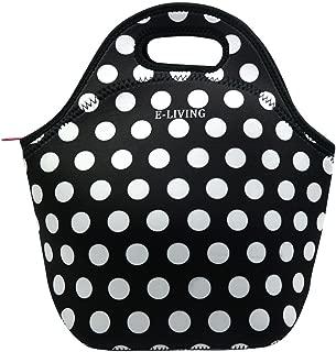 E - Living Neoprene Lunch Tote Bag - 7 Designs (USA/London / Paris/White Dots/Vintage Roses) (White Dots)