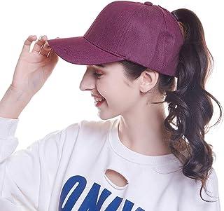 WELROG Women's Baseball Cap Hip-Hop Hat Adjustable Cotton Ponytail Cap