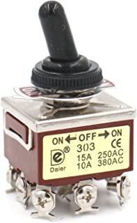 heschen Metal Toggle Interruptor 3PDT mantiene ON/OFF/ON 3Posición 15A 250VAC 10A 380VAC CE con funda impermeable