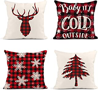Britimes Throw Pillow Covers Christmas Home Decor Set of 4 Pillow Cases Winter Decorative 18 x 18 Inches Outdoor Cushion C...