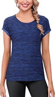 comprar comparacion iClosam Camisetas Deporte Mujer Fitness Cuello Redondo BáSicas Seco RáPido Blusas Camisa Top Camiseta Mujers Running Manga...