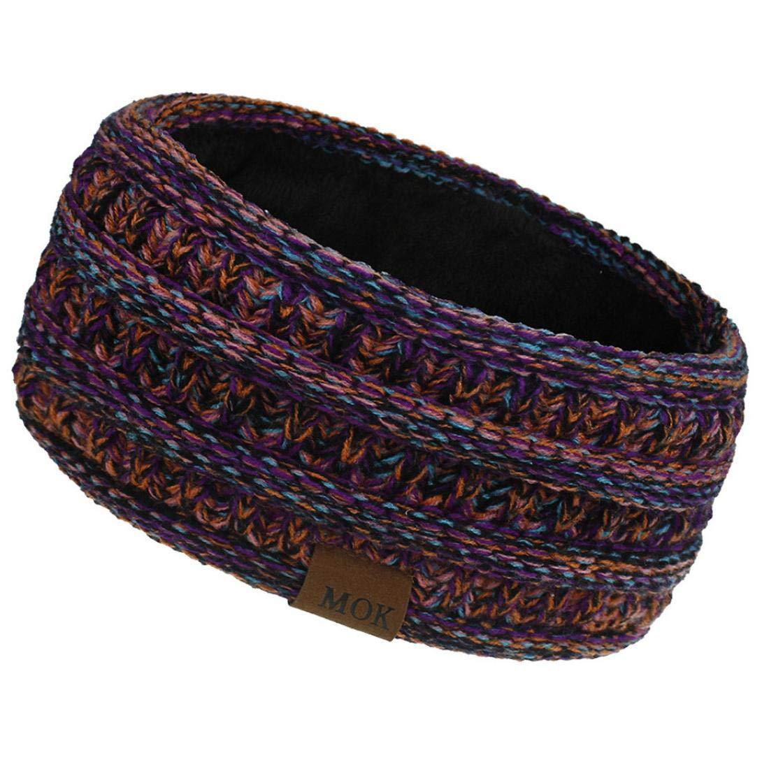 Womens Winter Ear Warmer Headband - Warm Winter Cable Knit Headband, Soft Stretchy Thick Fuzzy Headwrap Earwarmer (01-Orange)