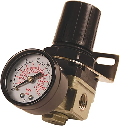 "Primefit R1401G Mini Air Regulator with steel-Protected Gauge, 60-Scfm At 100-Psi, 1/4"" Npt"