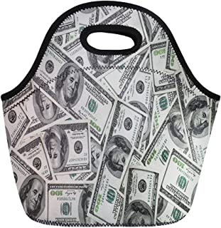 Semtomn Neoprene Lunch Tote Bag Green Bill One Hundred Dollars 100 Cash Money Account Reusable Cooler Bags Insulated Thermal Picnic Handbag for Travel,School,Outdoors,Work
