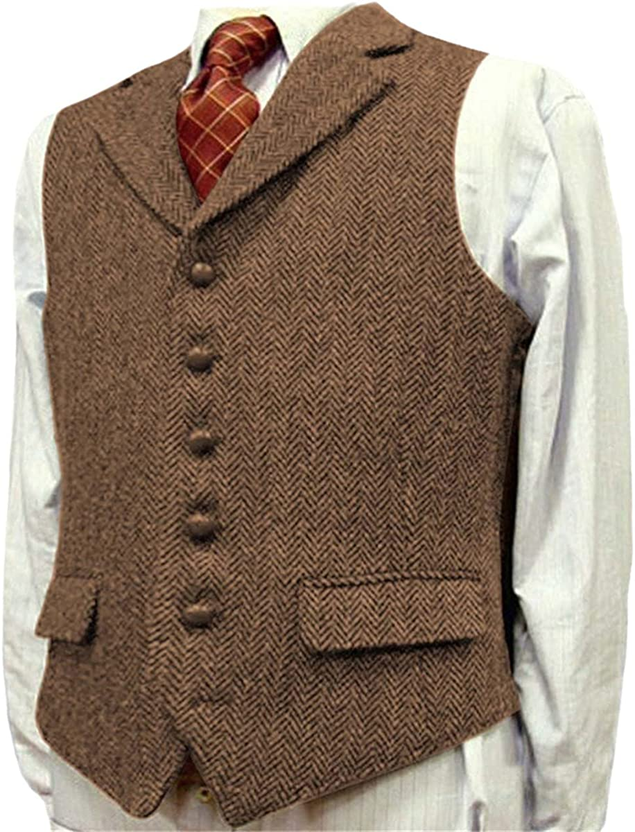 Men's suit vest lapel V neck wool herringbone casual formal business groom wedding