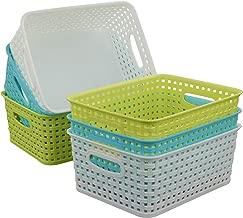 Qsbon Plastic Storage Baskets / Bins Organizer for Bathroom, 6-Pack