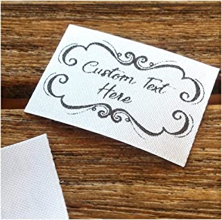 Qty 100 Iron on Clothing Label Sewing Custom Name tag Lace Frame Design Handmade by Business Name Text Logo Personalized Soft Satin Ribbon Waterproof Washable Label Size 1.2