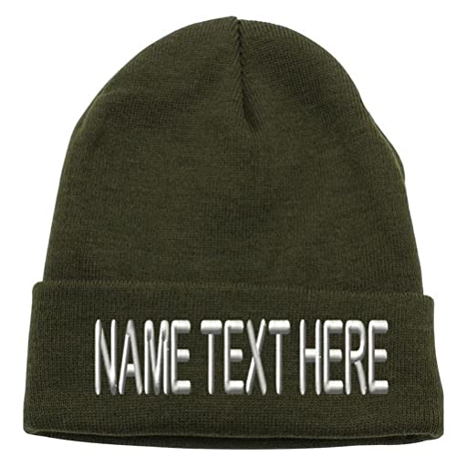 Custom Embroidery Personalized Text Ski Toboggan Knit Cuffed Embroidered Beanie  Hat d3184852339