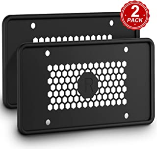 Karoad Silicone License Plate Frames with 8 Screws and 8 Screw Covers, Black Car License Plate Cover License Plate Holder - Waterproof Rust-Proof Non-Deformation Cold and High Temperature Resistance