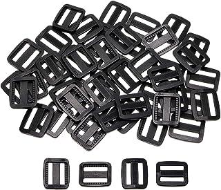 Shapenty 50PCS Black Plastic Tri-Glide Slides Button Bulk Adjustable Webbing Triglides Slider Buckle for Belt Backpack and...