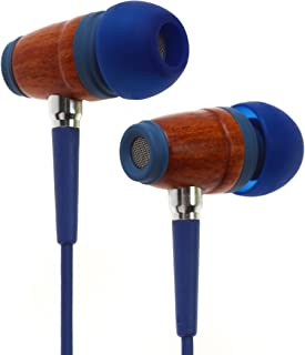 Symphonized Kids Volume Limited Premium Wood in-Ear Noise-isolating Headphones Earbuds Earphones with Mic (Bubble Blue)