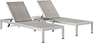 Modway Shore 3-Piece Aluminum and Rattan Outdoor Patio Chaise Lounge Chairs and Side Table Set in Silver Gray