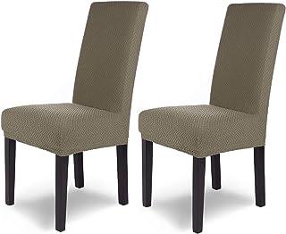 comprar comparacion SCHEFFLER-Home Luna 2 Fundas de sillas, Estirable Cubiertas, Chenilla extraíble flexibel Funda con Banda elástica, Topo