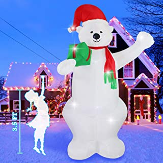Fanshunlite Christmas Inflatable 8 FT Bear Lighted Blow-Up Yard Party Decoration for Xmas Airblown Inflatable Outdoor Indoor Home Garden Family Prop Yard