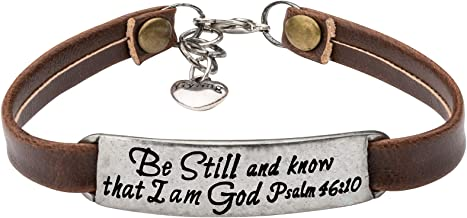 Best UNQJRY Leather Bracelet for Women Teens Christian Engraved OrnamentJewelry Gift Inspirational Vintage Stretch Religion Bible Verse Review