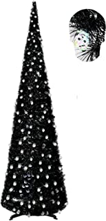 YuQi 6FT Pop Up Tinsel Pencil Trees for Halloween Decorations with Plump Shiny Skull Sequins, Collapsible Artificial Halloween Xmas Black Tree with Plastic Stand for Fireplace & Entrance & Front Desk