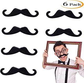 Whaline 5 Inch Large Self Adhesive Fake Mustaches Novelty Black Mustache for Masquerade Costume Party (6 Pieces)