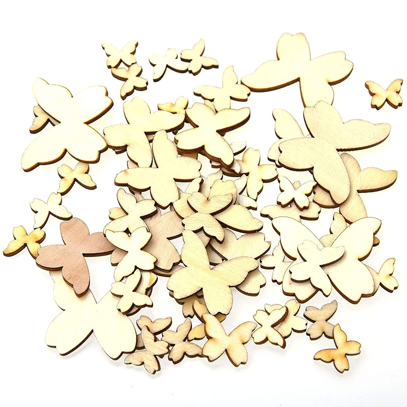 Monrocco Natural Wood Unfinished Cutout Veneers Slices Wooden Butterfly Cutouts Craft Mixed Size Wooden Butterflies Craft Embellishments Wooden Cutout Scrapbooking for DIY Crafting Decoration