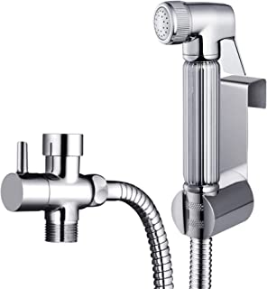 All Metal Handheld Bidet Sprayer for Toilet | Leak Free, DIY Installation, Built to Last with Stainless Steel and Brass | Universal Attachment | Hand Held Spray Nozzle, Hose, T Valve Adapter, Holder