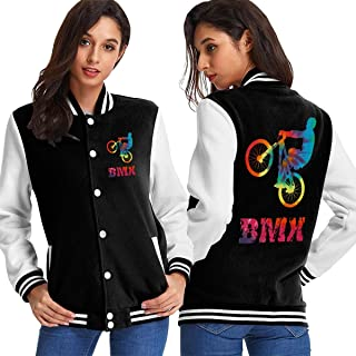 BMX Vintage Women's Long Sleeve Baseball Jacket Sweater Coat