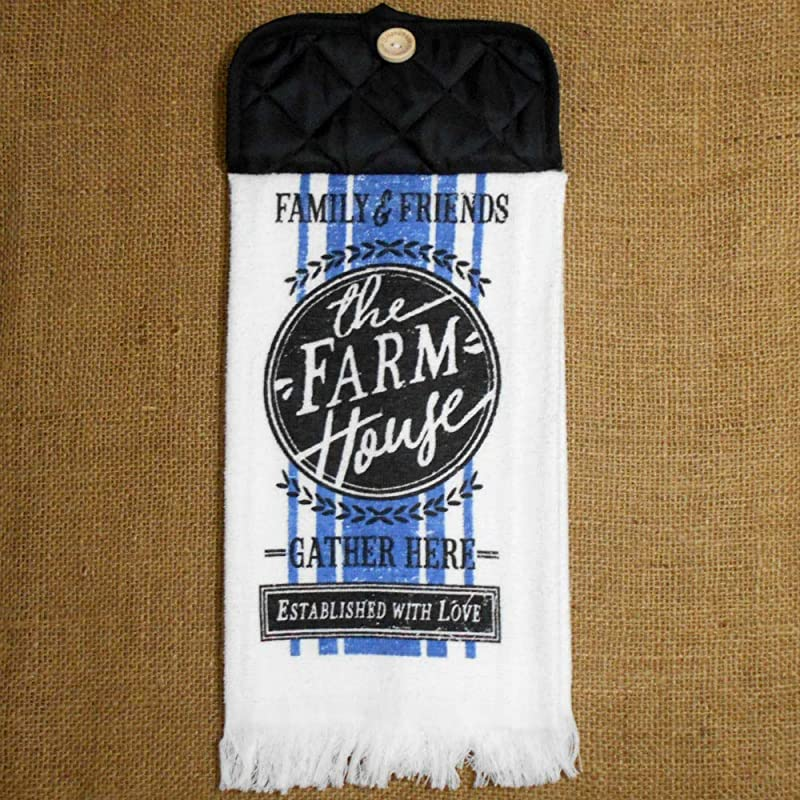 Family And Friends Gather Here Hanging Dish Towel With Fringed Bottom Rustic Kitchen Decor