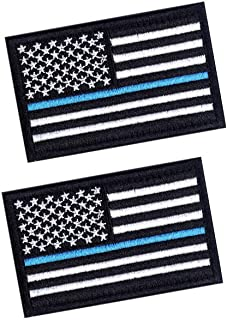 2 PCS Tactical Patches of USA US American Flag Law Enforcement Thin Blue Line, with Hook and Loop for Backpacks Caps Hats Jackets Pants, Military Army Uniform Emblems, Size 3x2 Inches