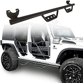 Hooke Road Wide Drop Side Steps Nerf Bars Solid Steel Running Boards for 2007-2018 Jeep Wrangler JK 4-Door(Exclude 2018 JL Edition)