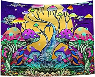 Psychedelic Smoke Mushrooms Tapestry Trippy Fantasy Plant Magical Forest Tapestry,Hippie Art Tapestry Wall Hanging for Living Room Dorm Bedroom Home
