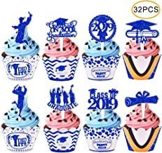 2019 Graduation Cupcake Wrappers and Toppers -Graduation Party Decoration,32 Piece Glitter Blue Cupcake Toppers For Class Of 2019 Congrats Grad Party Birthday Party Supplies Favor
