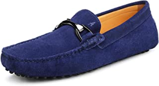 Shenduo Scarpe Uomo - Mocassini Uomo di Pelle Bucciata con Frangia comode Loafers Scarpe Casual D7157 Blu 42