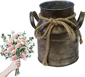Jeeleno Farmhouse Rustic Decor Vase,Country Vintage Home Decoration,Farmhouse Chic Jug Vase,Spring Sunflower Milk Coffee Jug Galvanized Bucket Used for Porch,Kitchen, Home,Table Decor(Bronze Color)