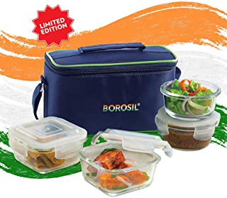 Borosil Limited Edition Pride Universal Glass Lunch Box Set of 4, (320 ml Sq. + 240 ml Round) Microwave Safe Office Tiffin