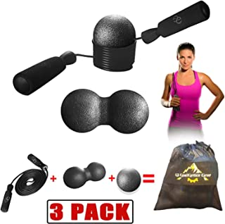 Fitness Jump Rope & MASSAGE Balls - SPEED Skipping Jumprope+Stress Release Tool|Boxing,MMA,Crossfit,WOD,Gym,Jumping,Strength Training,Cardio Workout|Women,Men,Kid|9.8ft|Deep Trigger Point Massager+BAG