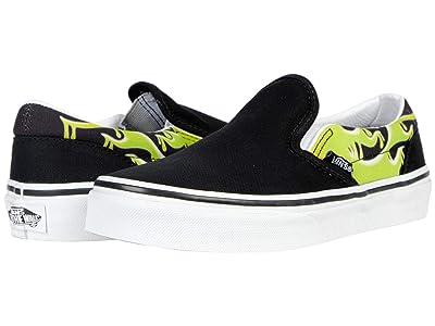 Vans Kids Classic Slip-On (Big Kid) ((Slime Flame) Black/True White) Boys Shoes