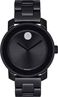 Women's BOLD Ceramic Watch with a Crystal-Set Dot, Black/Silver (Model 3600535)
