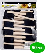 """conda 50 Pack 0.5""""-2"""" Different Size Assorted Foam Brush Set Wood Handle Paint Brush Set- Lightweight, Durable, Great for ..."""
