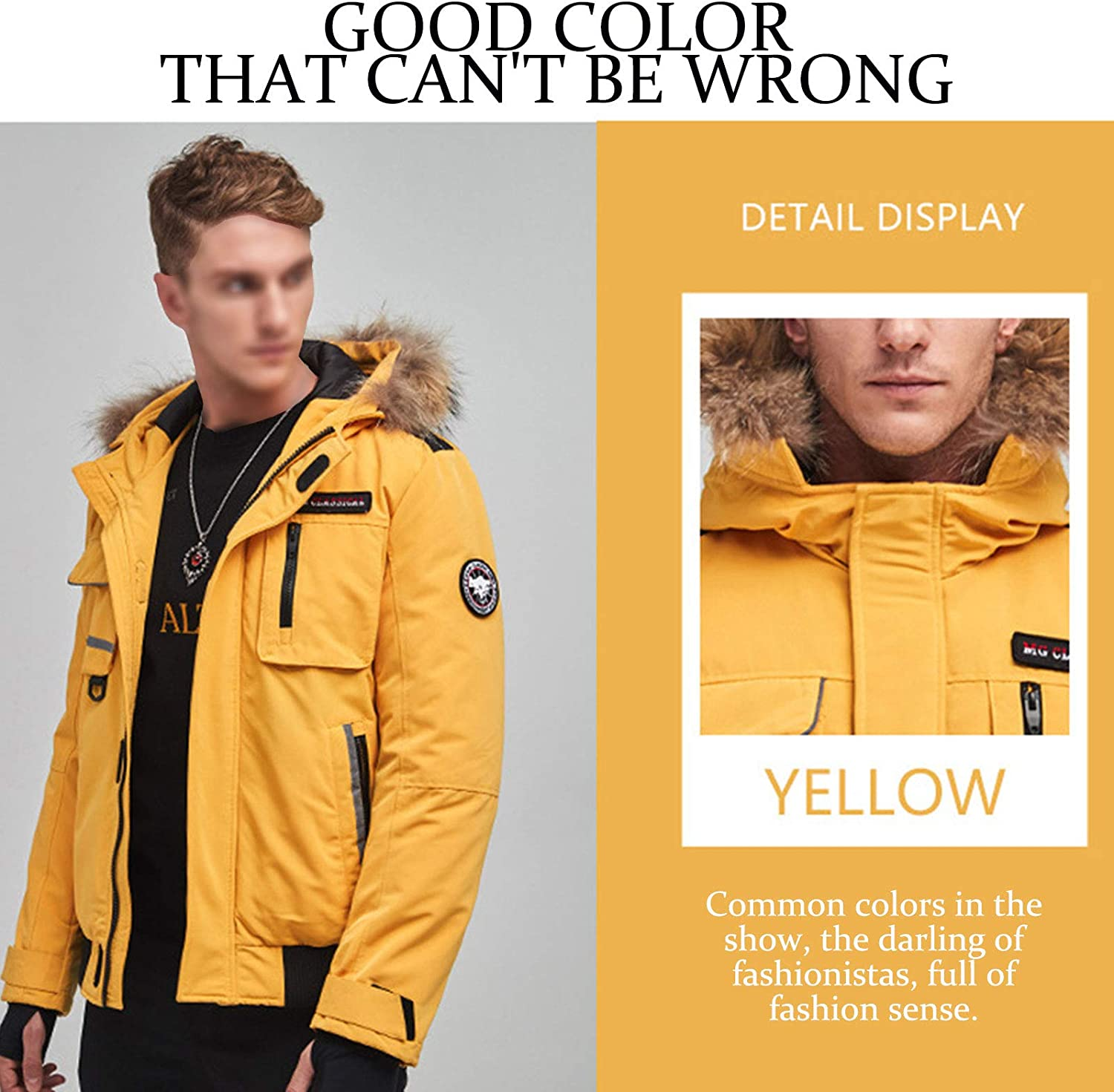 DUTUI Men's Winter Down Jacket, 80% White Duck Down Short Thick Down Jacket Casual Workwear Men's and Women's Warm Down Jacket,Yellow,6XL