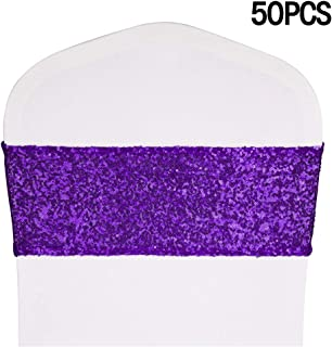 Desirable Life Pack of 50 Stretch Sequin Chair Sashes Chair Bands for Hotel Wedding Reception Party Event Chair Cover Decoration 4
