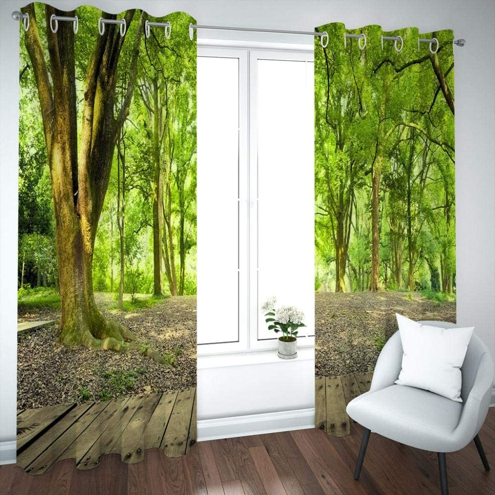 SDSONIU Blackout Curtains Kids Room 3D Max 80% OFF Boy Woods We OFFer at cheap prices Green Landscape