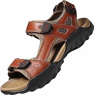 GILKUO Mens Sandals Leather Summer Walking Hiking Trekking Sports Outdoor Beach Open Toe Adjustable Sandals Men Black Size 5
