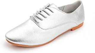 aaf99896b82 Vivident Women Genuine Leather Preppy Style Lace Up Casual Pointed Toe Flat  Non Slip Office Soft