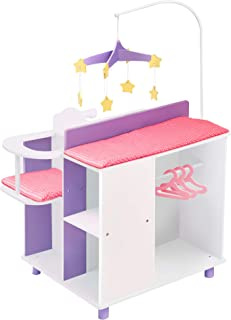Olivia's Little World - Baby Doll Furniture | Baby Changing Station with Storage, Blanco, 45.72cm