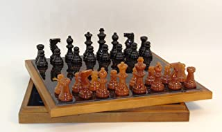 Alabaster Chest Chess Set in Black / Brown