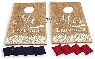 VictoryStore Cornhole Games - Custom Wedding Bag Toss Game - Custom Wedding Cornhole - Mr. and Mrs. Corn Hole Rustic, Vintage Burlap Design