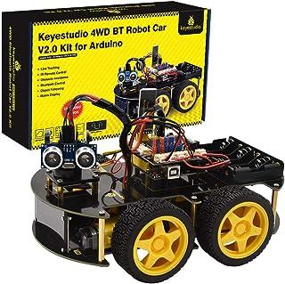 KEYESTUDIO Smart Robot Car Kit V3.0 for Arduino IDE with Board, Line Tracking Module, Ultrasonic Sensor, IR Module, Intell...