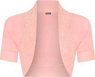 c2b7834f837428 WearAll - Damen Perlen Kurzarm Bolero Top - 11 Farben - Größe 34-42