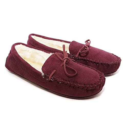 Charles Albert Womens Fur Lined Moccasins Faux Suede Winter Slippers