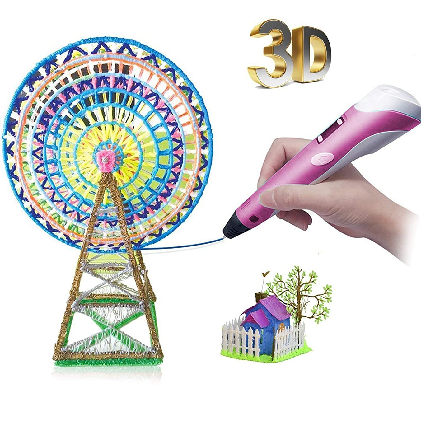 3D Pen- Birthday Gift for Kids DIY Safe Arts Crafts Creative Toys for 8 12 Year Old Girls Boys Drawing Printing Pen with Multicolor Filament Children's Day Present Unleash Creativity Thinking (Pink)