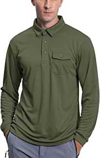 BIYLACLESEN Men's Golf Polo Shirts Outdoor Pique Performance Tactical Long Sleeve Jersey Hiking Shirts